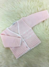 baby girls pink white knitted cardigan