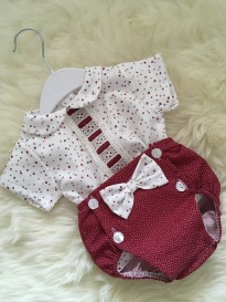spanish boys girls 2 piece set  top jam pants red ivory spot