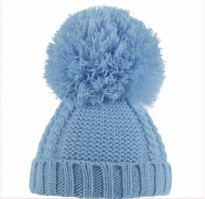 baby boys cable knitted hat in blue pom pom
