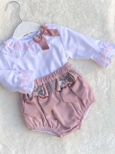 smocked jam pants pink grey embroided blouse