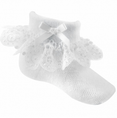 baby girls white floral lace ankle socks