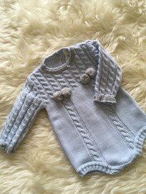 spanish style all in one knitted boys romper grey blue