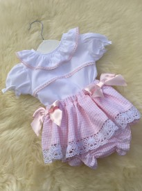 spanish style baby girls pink white jam pants blouse bows lace
