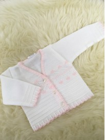 babies girls knitted v neck cardigan white pink