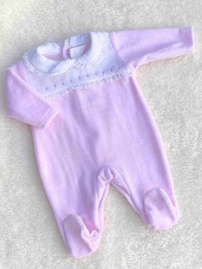 baby girls  pink white velour all in one