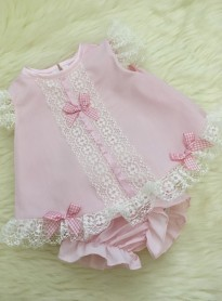 traditional angel style dress and pants in pink ivory