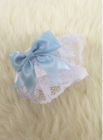 traditional ribbon and lace socks in white with blue bow