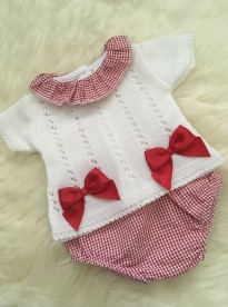 spanish style baby girls lace knit top jam pants red white  bows
