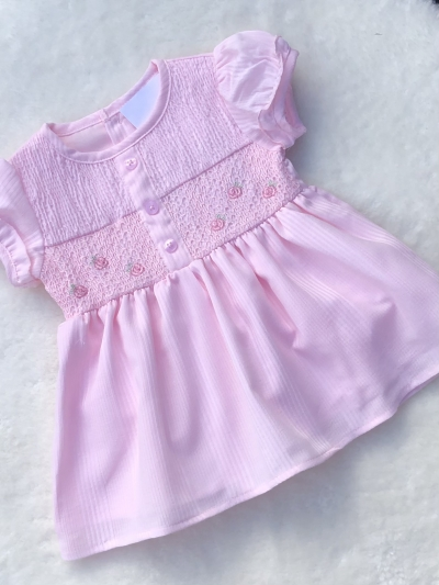 baby girls pink smocked embroided dress