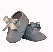 sevva baby blue soft sole pram shoes ribbon lace