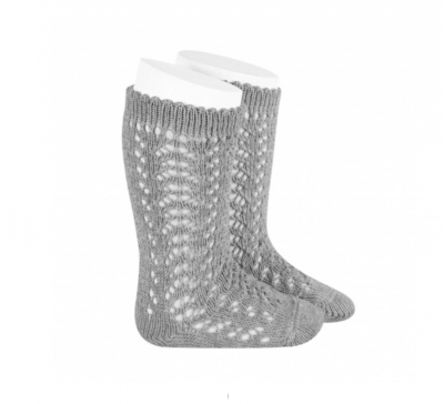 condour 100% cotton knee high openwork sock grey