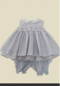 pretty originals blue white smocked seersucker dress knicker bockers