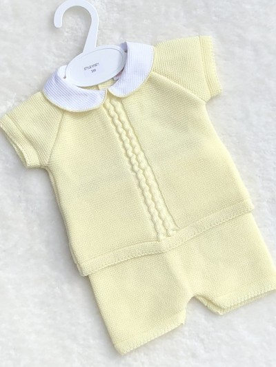 unisex knitted top jam pants lemon yellow