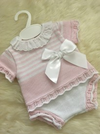 spanish style baby girls knitted top jam pants pink white