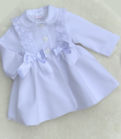 girls  white summer coat with bows