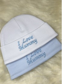 'i love mummy ' baby boys 2 pack cotton hats blue white